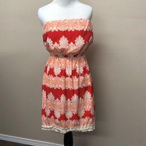 Peach Love California Red Strapless Dress Small